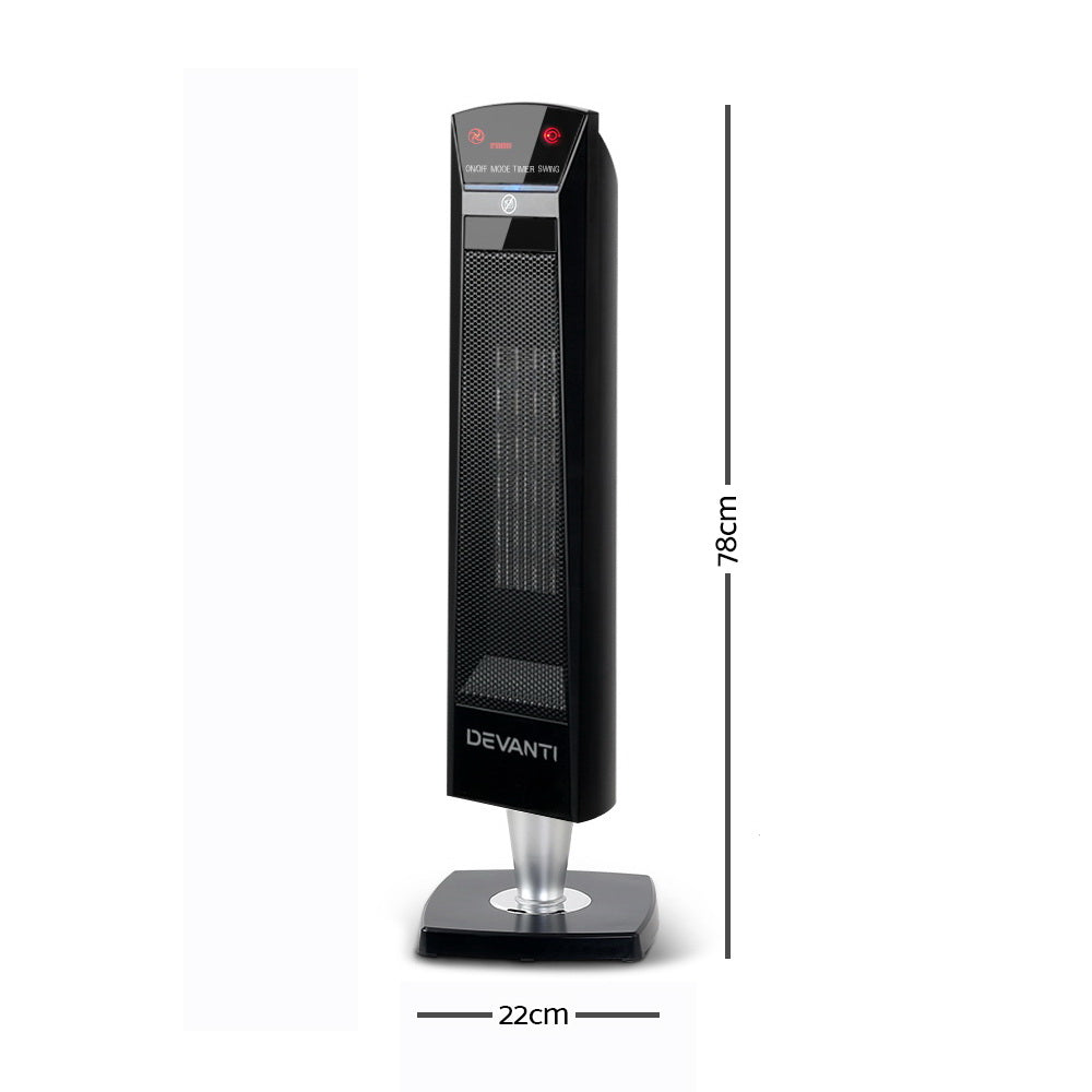Devanti 2000W Portable Electric Ceramic Tower Heater - Black
