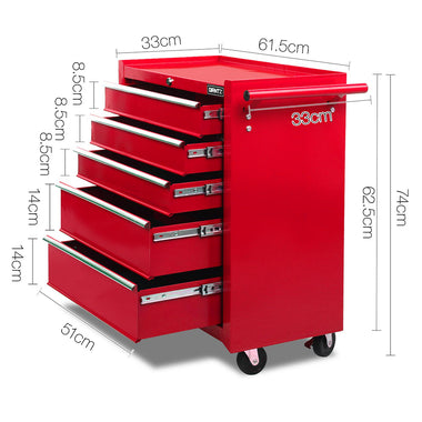 5 Drawer Mechanic Tool Box Trolley - Red | Retail Discount