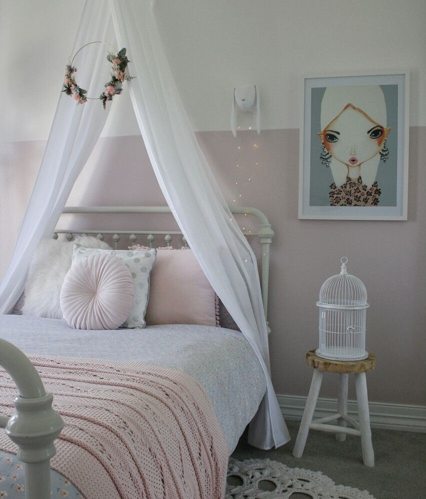 Our white drape canopy adds a perfect touch of elegance to the bedroom and creates a beautiful, magical space.