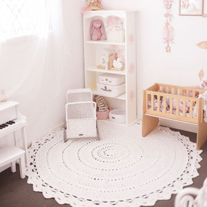 Nursery and kids room crochet floor rug 150cm - Aria
