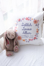 Load image into Gallery viewer, Personalised baby birth details cushion - floral wearth