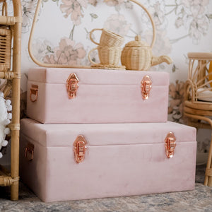 set of two dusty pink velvet storage cases with rose gold handles