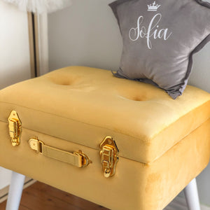 Storage stool luxe velvet - Mustard and gold