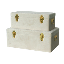 Load image into Gallery viewer, Storage case set Luxe velvet - Bone and gold