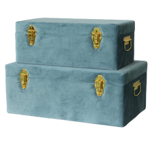 Load image into Gallery viewer, Storage case set Luxe velvet - Steel blue and gold