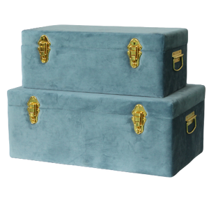 Storage case set Luxe velvet - Steel blue and gold