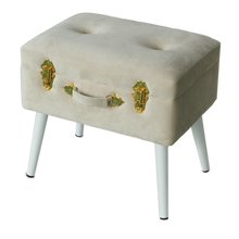 Load image into Gallery viewer, Storage stool luxe velvet - Bone and gold