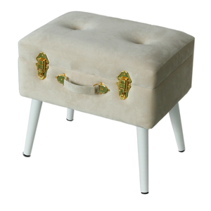 Storage stool luxe velvet - Bone and gold