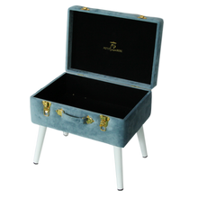 Load image into Gallery viewer, Storage stool luxe velvet - Steel blue and gold