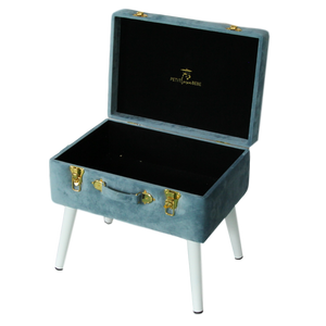 Storage stool luxe velvet - Steel blue and gold