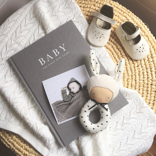 Baby Journal keepsake record book - Birth to five years GREY