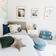 Load image into Gallery viewer, boys bedroom with blue and gold storage cases sitting on the floor