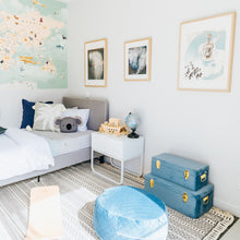 Load image into Gallery viewer, blue and gold storage cases on floor of boys bedroom