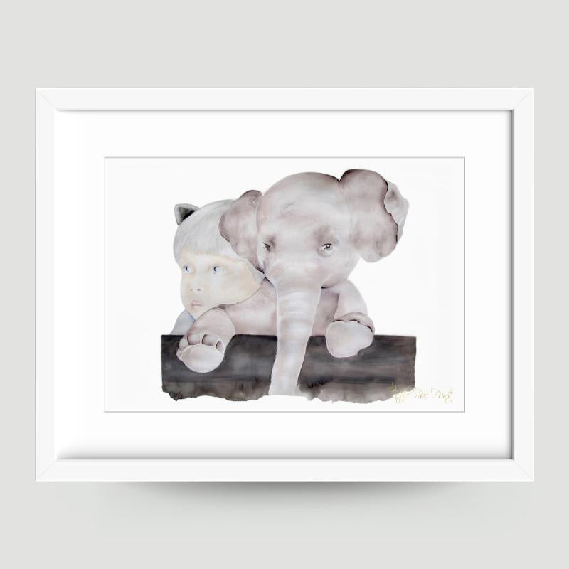 Little Elephant - Watercolour print - Hope & Jade