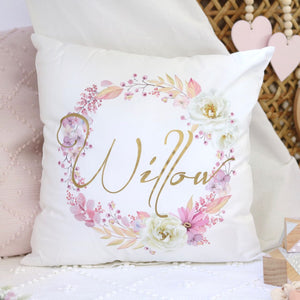 Personalised Baby name cushion -  floral wreath