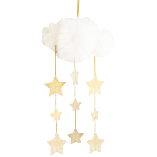 Tulle cloud & star mobile - Ivory & Gold - Hope & Jade