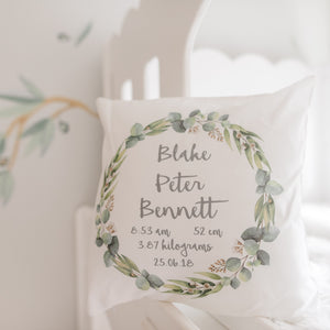 Personalised Baby birth details cushion -  Botanical wreath