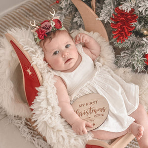Available August 2021 My first Christmas disc - Christmas photo shoot prop babies first Christmas
