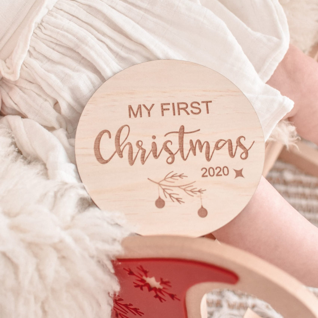 My first christmas mdf dics engraved