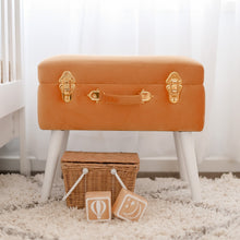 Load image into Gallery viewer, terracotta storage stool in nursery with wicker basket and wooden blocks in front on the floor