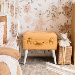 Storage stool luxe velvet - Terracotta and gold
