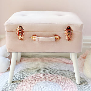 Storage stool luxe velvet - Dusty pink and rose gold