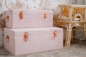 Storage case set Luxe velvet - Dusty Pink and rose gold