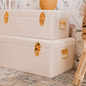 close up picture of gold hardware on bone storage cases