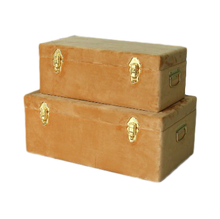 Load image into Gallery viewer, Storage case set Luxe velvet - Terracotta and gold