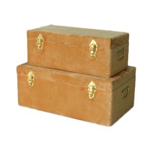 Storage case set Luxe velvet - Terracotta and gold