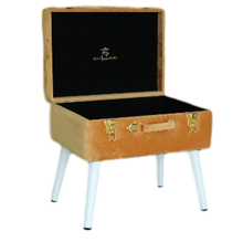 Load image into Gallery viewer, Storage stool luxe velvet - Terracotta and gold