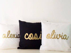 Personalised Baby name cushion -  Metallic