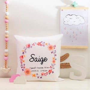 Personalised baby birth details cushion - floral wearth