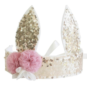 gold sequin bunny rabbit easter fabric crown with two pink tulle flowers and satin ribbon