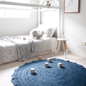 PRE-ORDER Nursery and kids room crochet floor rug 120cm - Peyton