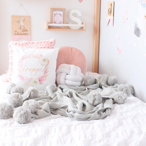 PRE-ORDER Pom Pom throw blanket  - Light Grey