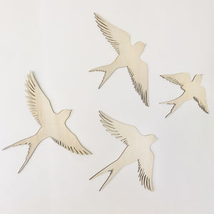 Wooden Swallows - timber birds set of two