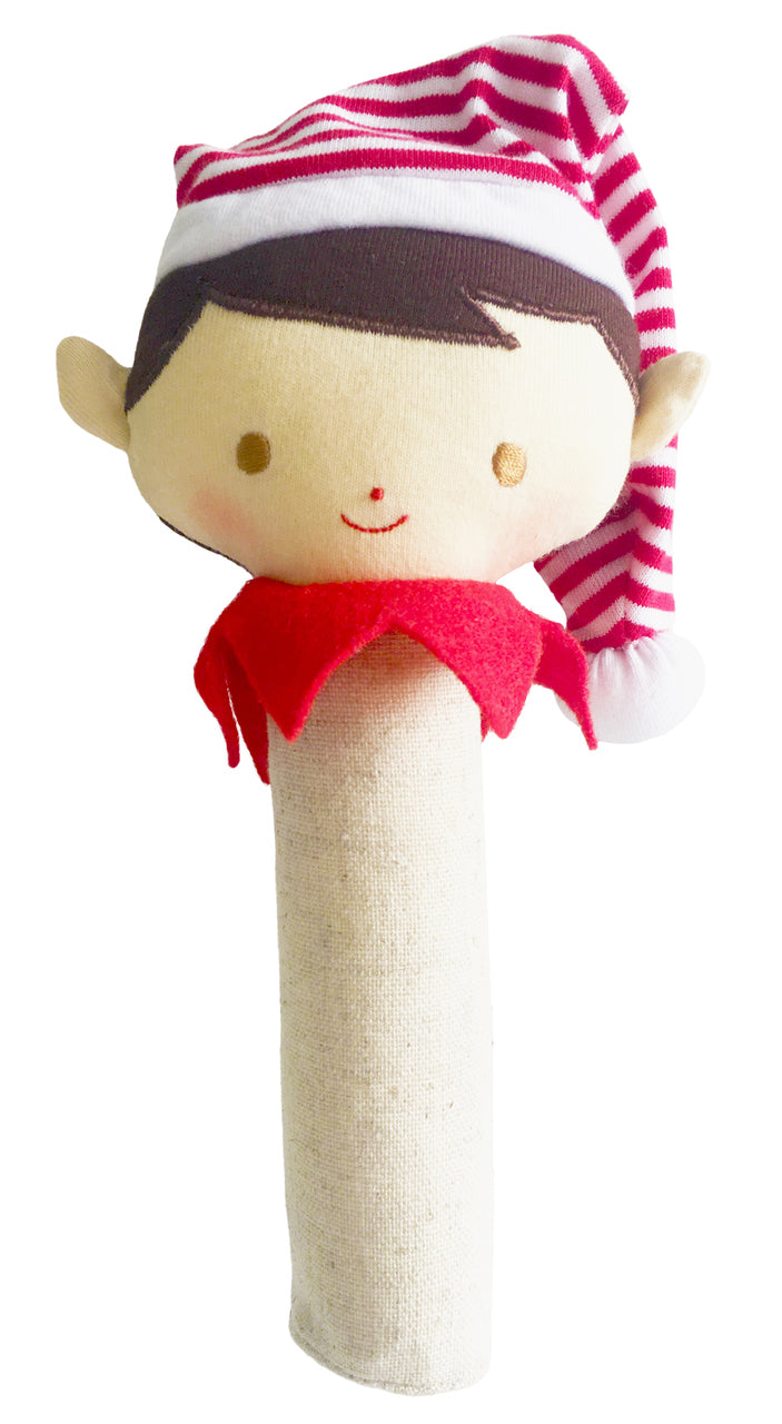Christmas Linen Elf rattle & squeaker - Boy