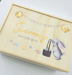 timber handmade personalised easter keepsake box