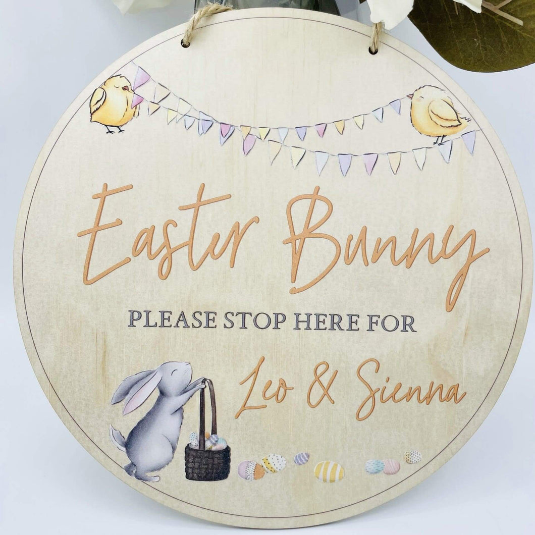 round mfd sign personalised with names easter bunny please stop here hanging easter sign