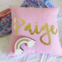 Load image into Gallery viewer, Personalised Baby name cushion -  Metallic