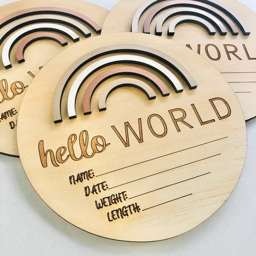 Baby Hello World announcement disc  - Rainbow sand dunes