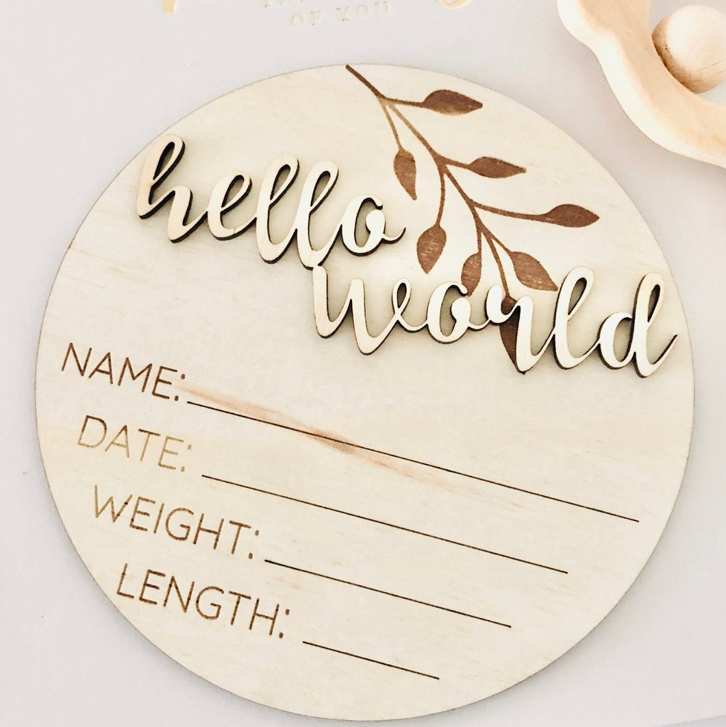 Hello world newborn baby timber birth announcement disc