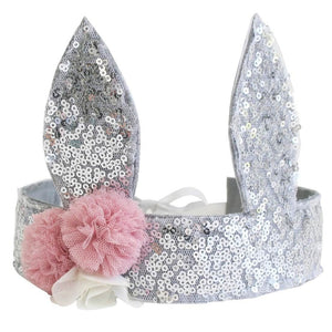 silver sequin bunny crown with soft pink tulle flowers and ivory ribbons