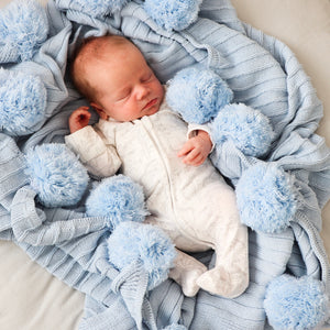 Pom Pom throw blanket  - Baby blue - Hope & Jade