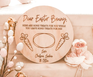 round timber easter bunny tray engraved with two pictures of carrots and personalised with names