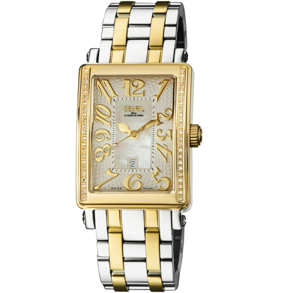 Gevril 9544YEB Avenue ladies midsize two tone IPYG case White dial two tone IPYG bracelet