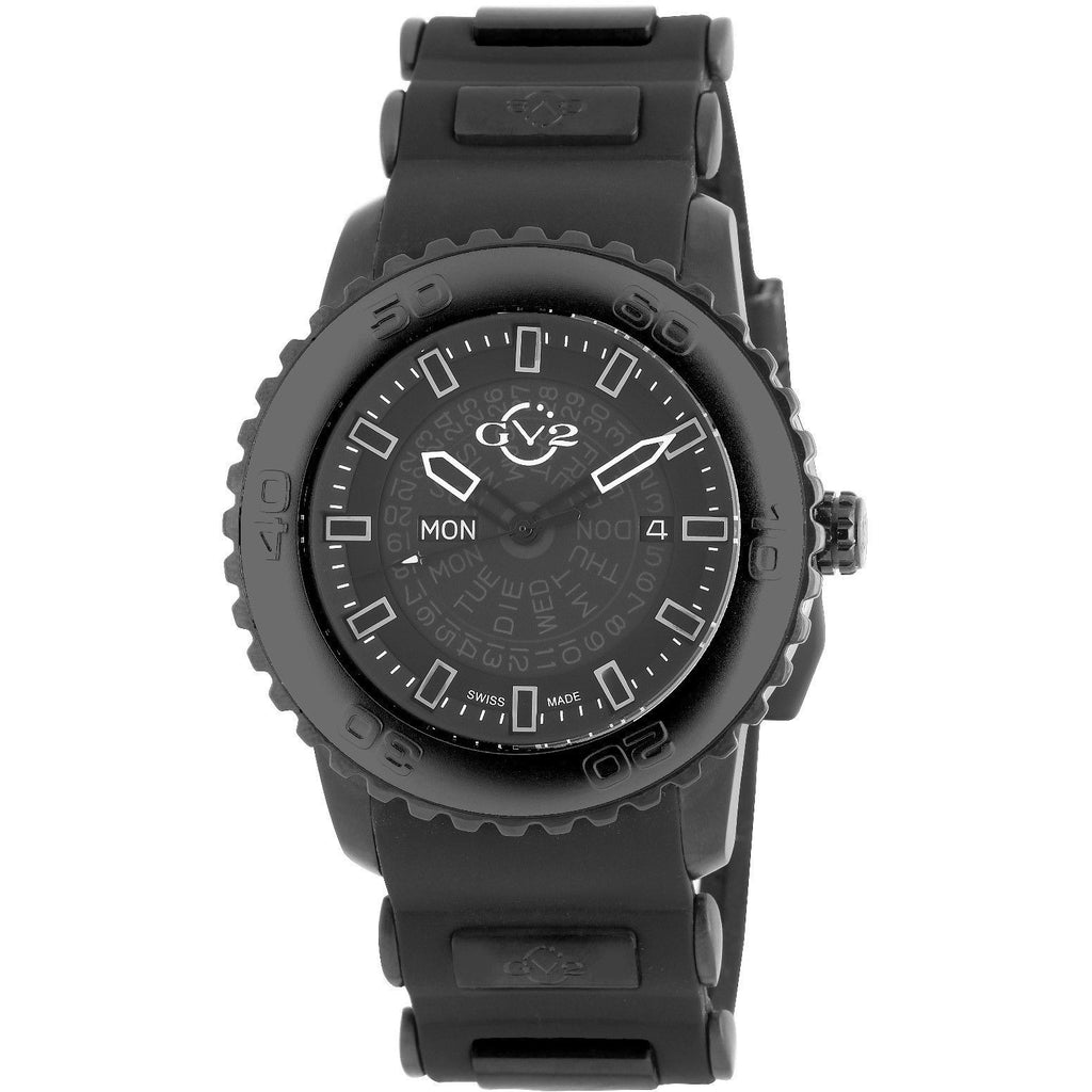 GV2 by Gevril Men's Watch 9700 Grande Luminous Black Dial Black Silicone Date