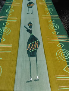 Hand Painted, Table Runner, Masai lady