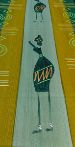 Hand Painted table runner, Masai Olive